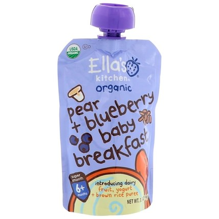 Pear + Blueberry Baby Brekkie, Stage 1, 3.5 oz (99 g) by Ellas Kitchen, 兒童健康,兒童食品,嬰兒餵養,嬰兒穀物 HK 香港