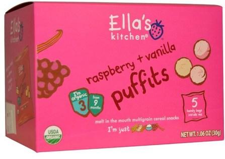 Ellas Kitchen, Raspberry + Vanilla Puffits, 5 Handy Bags, 1.06 oz (6 g) Each 兒童健康,嬰兒餵養,嬰兒零食和手指食品,幼兒零食,兒童食品