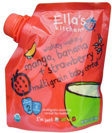 Wakey Wakey Mango, Banana + Strawberry Multigrain Baby Cereal, Stage 2, 5.3 oz (150 g) by Ellas Kitchen, 兒童健康,兒童食品,嬰兒餵養,嬰兒穀物 HK 香港