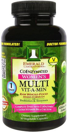 CoEnzymated Womens Multi Vit-A-Min, 30 Veggie Caps by Emerald Laboratories, 維生素,女性多種維生素 HK 香港