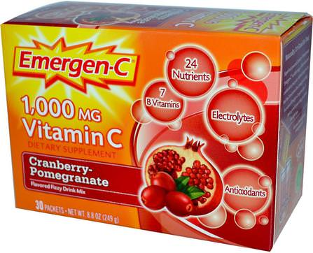 1.000 mg Vitamin C, Cranberry-Pomegranate, 30 Packets, 8.3 g Each by Emergen-C, 運動,電解質飲料補水 HK 香港