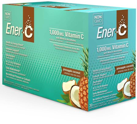 Vitamin C, Effervescent Powdered Drink Mix, Pineapple Coconut, 30 Packets, 9.7 oz (274.8 g) by Ener-C, 維生素,維生素c HK 香港