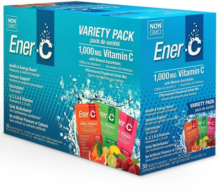 Vitamin C, Effervescent Powdered Drink Mix, Variety Pack, 30 Packets, 9.9 oz (282.5 g) by Ener-C, 維生素,維生素c HK 香港