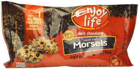 Regular Size Morsels, Dark Chocolate, 9 oz (255 g) by Enjoy Life Foods, 熱敏性產品,食品,可可(可可)巧克力 HK 香港