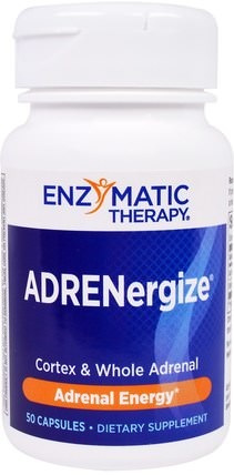 ADRENergize, Adrenal Energy, 50 Capsules by Enzymatic Therapy, 補充劑,腎上腺 HK 香港