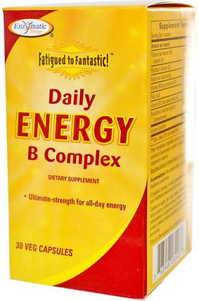 Fatigued to Fantastic! Daily Energy B Complex, 30 Veggie Caps by Enzymatic Therapy, 維生素,維生素b複合物,腎上腺 HK 香港