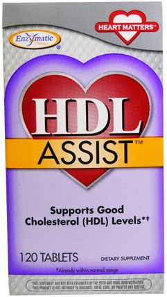 HDL Assist, 120 Tablets by Enzymatic Therapy, 健康,膽固醇支持,膽固醇 HK 香港