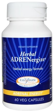 Enzymatic Therapy, Herbal Adrenergize, Adrenal Energy, 60 Veggie Caps 健康