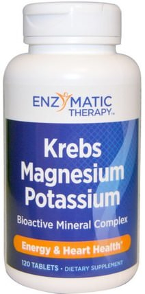 Krebs Magnesium Potassium, Bioactive Mineral Complex, 120 Tablets by Enzymatic Therapy, 補品,礦物質,鎂,鉀 HK 香港