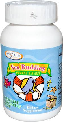 Sea Buddies, Immune Defense, 60 Chewable Sparkleberry Tablets by Enzymatic Therapy, 補充劑,dmae HK 香港