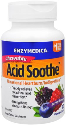 Chewable Acid Soothe, Berry Flavor, 30 Chewable Tablets by Enzymedica, 健康,消化,胃,胃灼熱和心髒病,胃灼熱 HK 香港