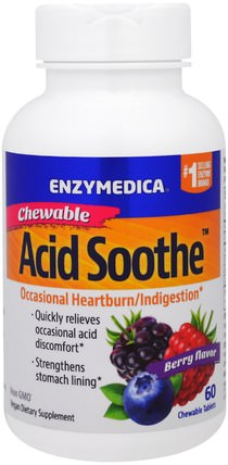 Chewable Acid Soothe, Berry Flavor, 60 Chewable Tablets by Enzymedica, 健康,消化,胃,胃灼熱和心髒病,胃灼熱 HK 香港