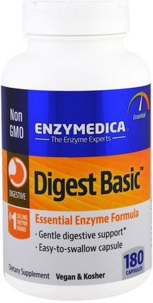 Digest Basic, Essential Enzyme Formula, 180 Capsules by Enzymedica, 補充劑,消化酶 HK 香港