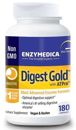 Digest Gold, with ATPro, 180 Capsules by Enzymedica, 補充劑,消化酶 HK 香港