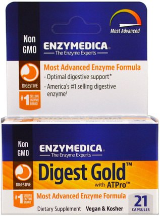 Digest Gold with ATPro, 21 Capsules by Enzymedica, 補品,酶,健康 HK 香港