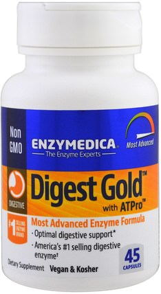 Digest Gold with ATPro, 45 Capsules by Enzymedica, 補充劑,酶 HK 香港