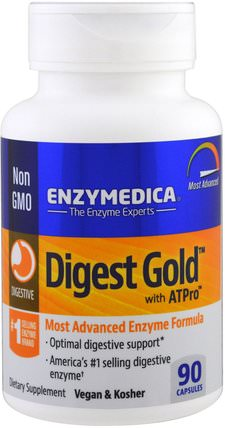 Digest Gold with ATPro, Most Advanced Enzyme Formula, 90 Capsules by Enzymedica, 補充劑,酶 HK 香港