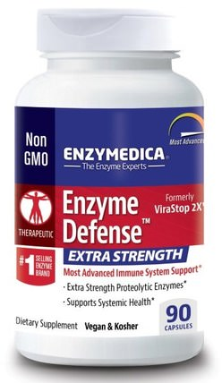 Enzyme Defense, Extra Strength, 90 Capsules by Enzymedica, 健康,感冒和病毒,免疫系統 HK 香港