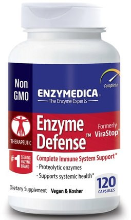 Enzyme Defense (Formerly ViraStop), 120 Capsules by Enzymedica, 補充劑,酶,沙雷胃蛋白酶 HK 香港