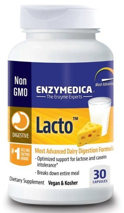 Lacto, Most Advanced Dairy Digestion Formula, 30 Capsules by Enzymedica, 補充劑,消化酶 HK 香港