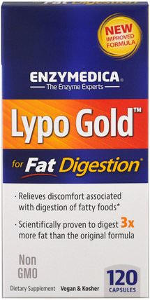 Lypo Gold, For Fat Digestion, 120 Capsules by Enzymedica, 健康,消化,胃 HK 香港