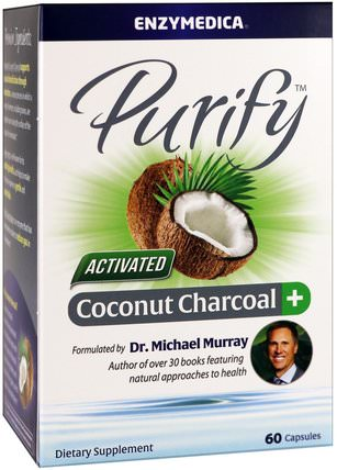 Purify, Activated Coconut Charcoal+, 60 Capsules by Enzymedica, 補品,礦物質,活性炭 HK 香港