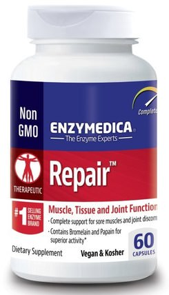 Repair, Muscle, Tissue and Joint Function, 60 Capsules by Enzymedica, 健康,骨骼,骨質疏鬆症,關節健康,炎症 HK 香港
