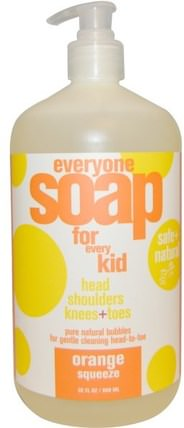 Everyone Soap for Every Kid, Orange Squeeze, 32 fl oz (960 ml) by EO Products, 洗澡,美容,頭髮,頭皮,洗髮水,護髮素,兒童洗髮水 HK 香港
