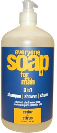 Everyone Soap for Every Man, Cedar + Citrus, 32 fl oz (960 ml) by EO Products, 洗澡,美容,頭髮,頭皮,洗髮水,護髮素,剃須 HK 香港