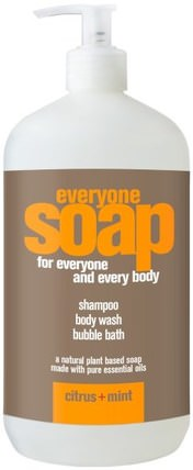 Everyone Soap for Everyone and Every Body, Citrus + Mint, 32 fl oz (960 ml) by EO Products, 洗澡,美容,頭髮,頭皮,洗髮水,護髮素 HK 香港