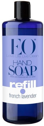 Hand Soap, Refill, French Lavender, 32 fl oz (946 ml) by EO Products, 洗澡,美容,肥皂,筆芯 HK 香港