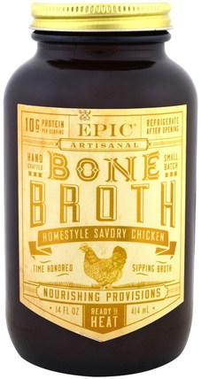 Artisanal Bone Broth, Homestyle Savory Chicken, 14 fl oz (414 ml) by Epic Bar, 健康,骨骼,骨質疏鬆症,關節健康,骨湯,食物,酮類友好 HK 香港
