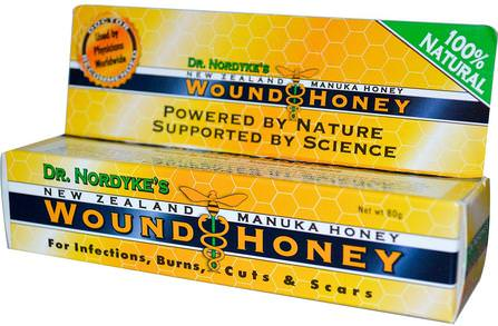 Dr. Nordykes New Zealand Manuka Honey, Wound Honey, 80 g by Eras Natural Sciences, 美容,面部護理,麥盧卡蜂蜜護膚,健康,傷害燒傷 HK 香港