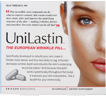 UniLastin, The European Wrinkle Pill, 60 Capsules by Erikson Bioscience, 健康,骨骼,骨質疏鬆症,膠原蛋白,沐浴,美容 HK 香港