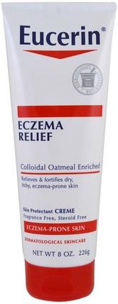 Eczema Relief Body Cream, Eczema-Prone Skin, Fragrance Free, 8.0 oz (226 g) by Eucerin, 健康,皮膚,eucerin濕疹 HK 香港