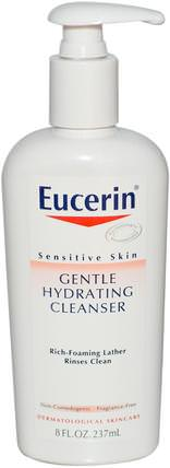 Gentle Hydrating Cleanser, Fragrance Free, 8 fl oz (237 ml) by Eucerin, 美容,面部護理,eucerin面部護理,皮膚型酒渣鼻,敏感肌膚 HK 香港
