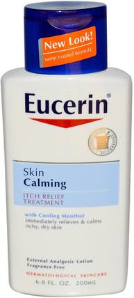 Skin Calming, Itch-Relief Treatment, Fragrance Free, 6.8 fl oz (200 ml) by Eucerin, 健康,皮炎,歐芹平靜 HK 香港
