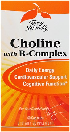 Terry Naturally, Choline with B-Complex, 60 Capsules by EuroPharma, 維生素,維生素B,膽鹼 HK 香港