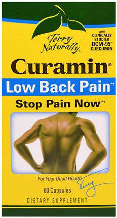 Terry Naturally, Curamin, Low Back Pain, 60 Capsules by EuroPharma, 補充劑,抗氧化劑,薑黃素,健康,背痛 HK 香港