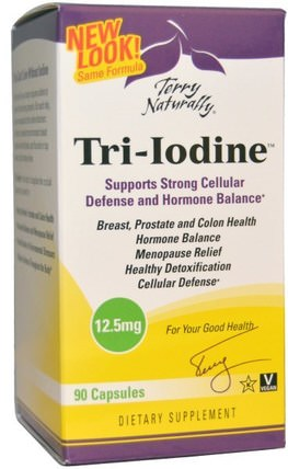 Terry Naturally, Tri-Iodine, 12.5 mg, 90 Capsules by EuroPharma, 補品,礦物質,碘 HK 香港