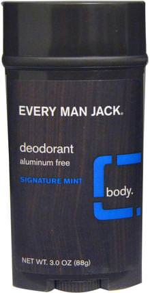 Deodorant, Signature Mint, 3.0 oz (88 g) by Every Man Jack, 洗澡,美容,除臭劑 HK 香港