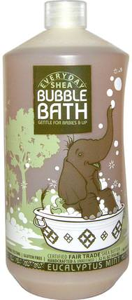 Bubble Bath, Gentle for Babies on Up, Eucalyptus Mint, 32 fl oz (950 ml) by Everyday Shea, 兒童健康,兒童洗澡,泡泡浴 HK 香港