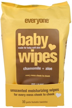 Baby Wipes, Chamomile Plus Aloe, 30 Gentle Flushable Towelettes by Everyone, 兒童健康,尿布,嬰兒濕巾 HK 香港