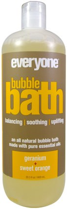 Bubble Bath, Geranium + Sweet Orange, 20.3 fl oz (600 ml) by Everyone, 洗澡,美容,泡泡浴 HK 香港