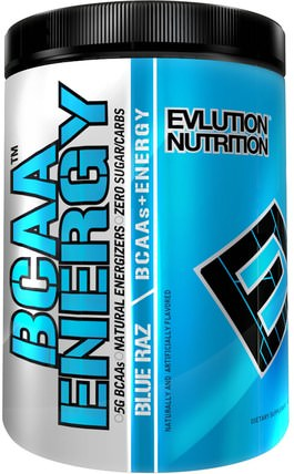 EVLution Nutrition, BCAA Energy, Blue Raz, 9.5 oz (270 g) 補充劑,氨基酸,bcaa(支鏈氨基酸),運動,肌肉