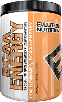 BCAA Energy, Peach Lemonade, 11.4 oz (324 g) by EVLution Nutrition, 運動,補品,bcaa(支鏈氨基酸) HK 香港