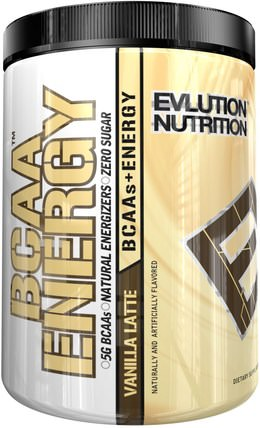 BCAA Energy, Vanilla Latte, 13.8 oz (390 g) by EVLution Nutrition, 運動,補品,bcaa(支鏈氨基酸) HK 香港