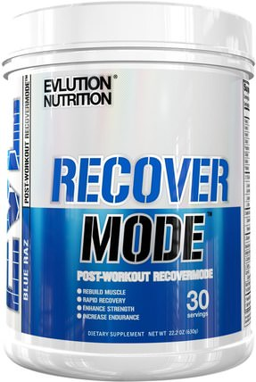 Recover Mode, Blue Raz, 22.2 oz (6.30 g) by EVLution Nutrition, 運動,肌酸 HK 香港
