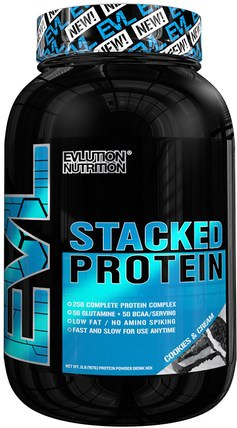 EVLution Nutrition, Stacked Protein, Cookies & Cream, 2 lb (888 g) 運動,補品,乳清蛋白