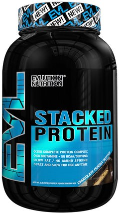 Stacked Protein Drink Mix, Chocolate Peanut Butter, 2 lb (888 g) by EVLution Nutrition, 運動,補品,乳清蛋白 HK 香港